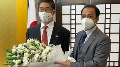 Celebrating the birthday of His Majesty the Emperor of Japan & the National Day of Japan with His Excellency Mr. ITO Naoki at his residence .