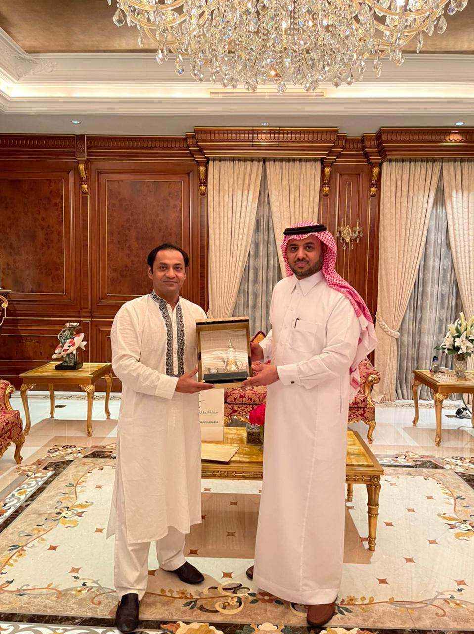 Dinner hosted at my residence on 9th March 2021 for His Excellency Mr. Essa Yousef Essa Alduhailan Ambassador of the Kingdom of Saudi Arabia to Bangladesh.